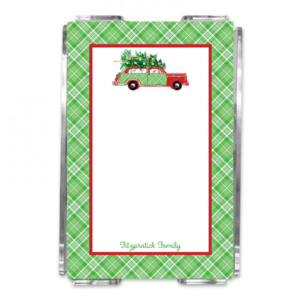 Red and Green Plaid Woody Wagon Loose Note Sheets in Acrylic Holder