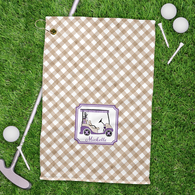 Golf Cart Lavender and Khaki Sport Golf Towel