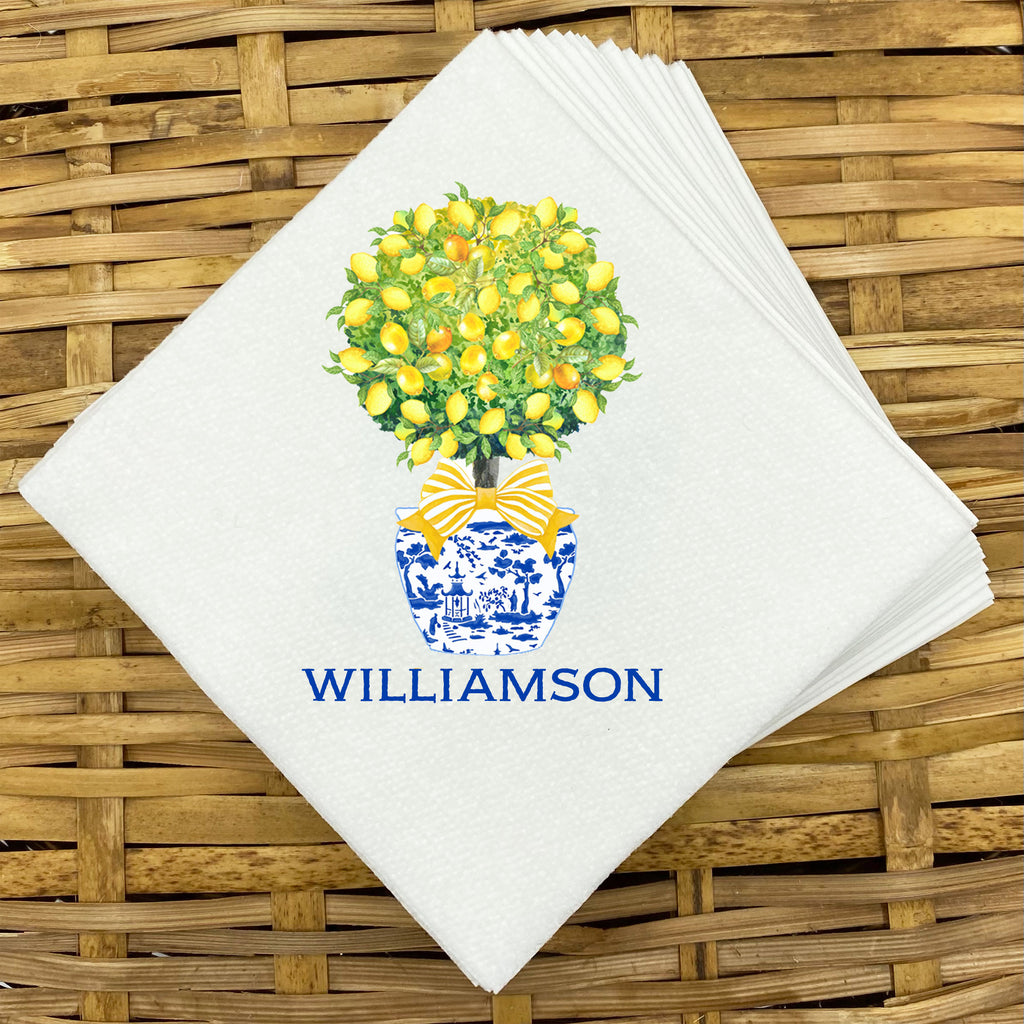 Topiary with Lemons Napkins and Guest Towels