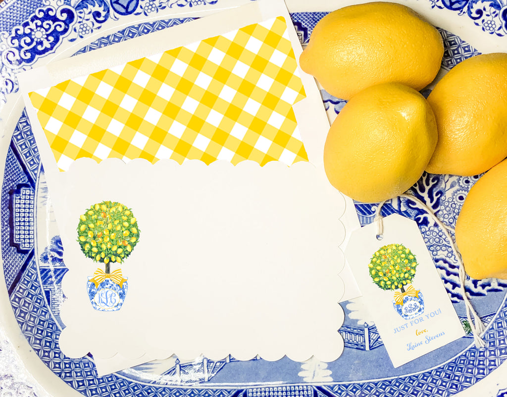 Topiary with Lemons Scalloped Notecards