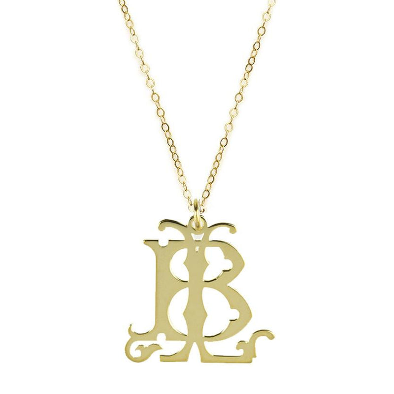 22K Gold over Sterling Silver or Sterling Silver 2-Initial Interlocking Monogram Necklace