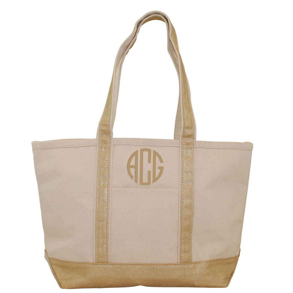 Canvas Boat Tote with Metallic Accent | Available in 4 Colors