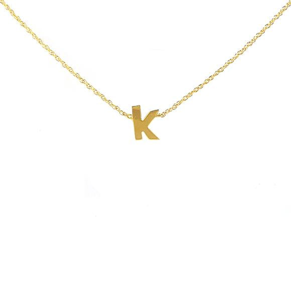 14K Gold or Sterling Silver Single Letter Necklace