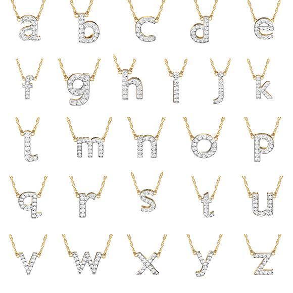 14K Gold Single Letter Diamond Necklace
