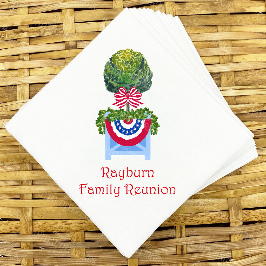 Patriotic Topiary with Bunting Napkins and Guest Towels