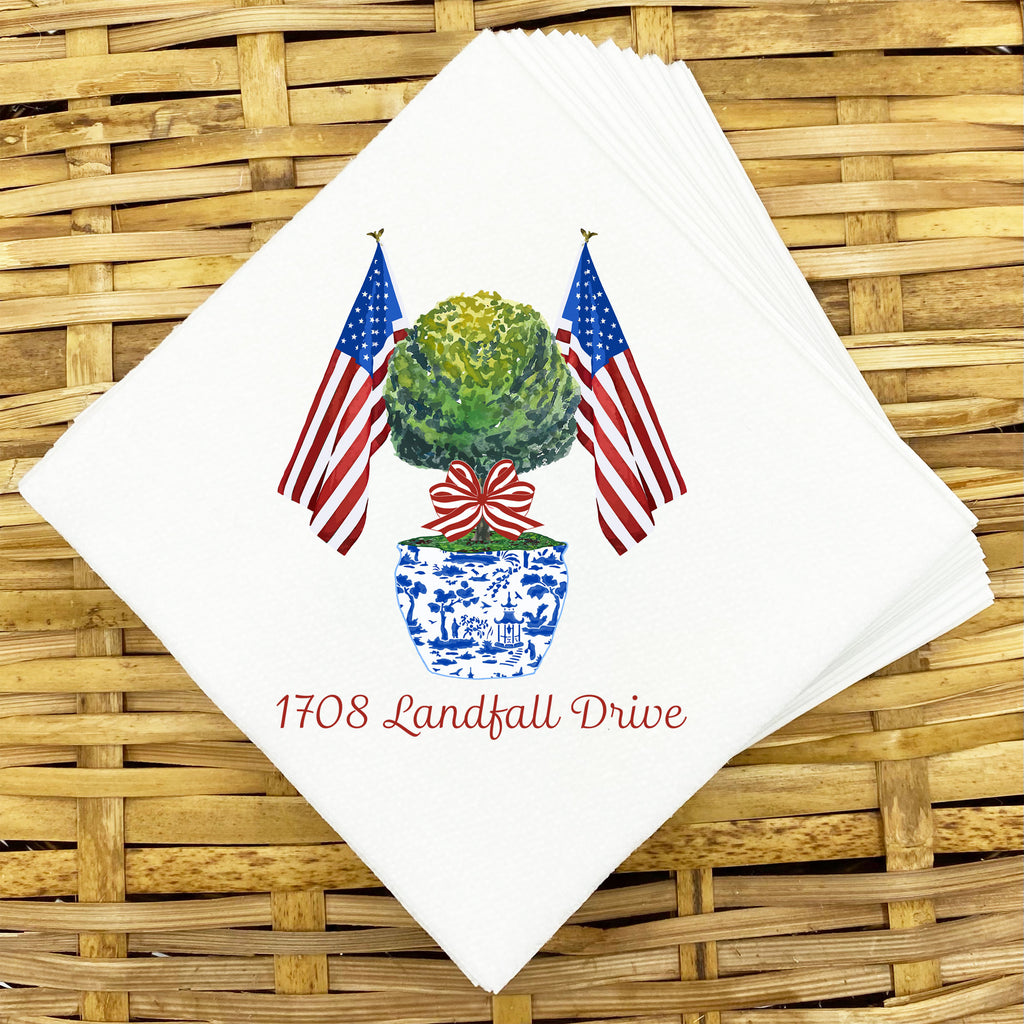 Patriotic Topiary Napkins and Guest Towels