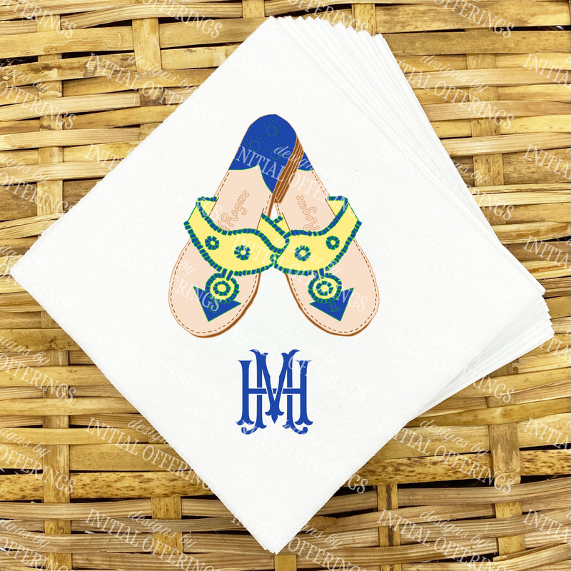 Yellow and Navy Jacks Napkins and Guest Towels