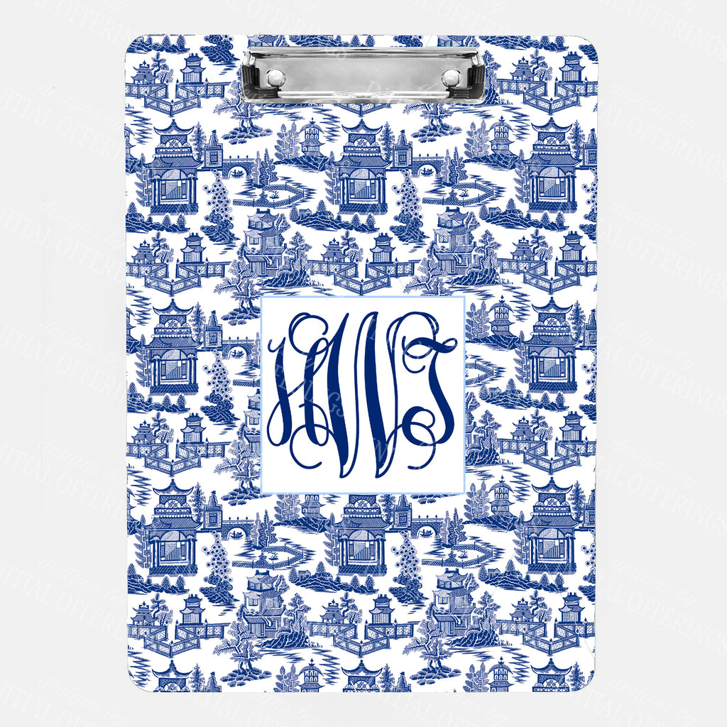 Pagoda Chinoiserie Navy with Cornflower Blue Clipboard