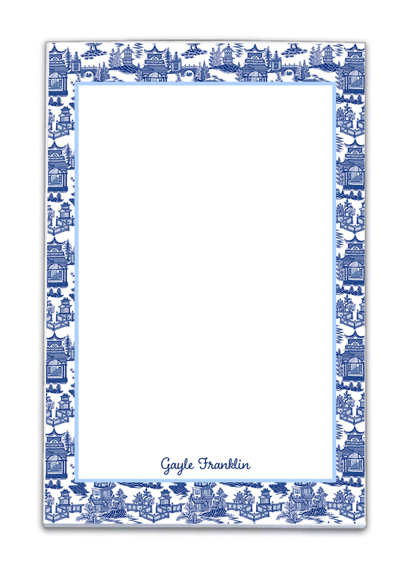 Pagoda Chinoiserie Navy Notepad available in 4 sizes