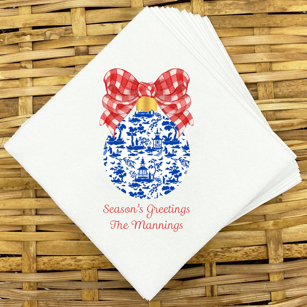 Red and Blue Christmas Ornament Napkins and Guest Towels