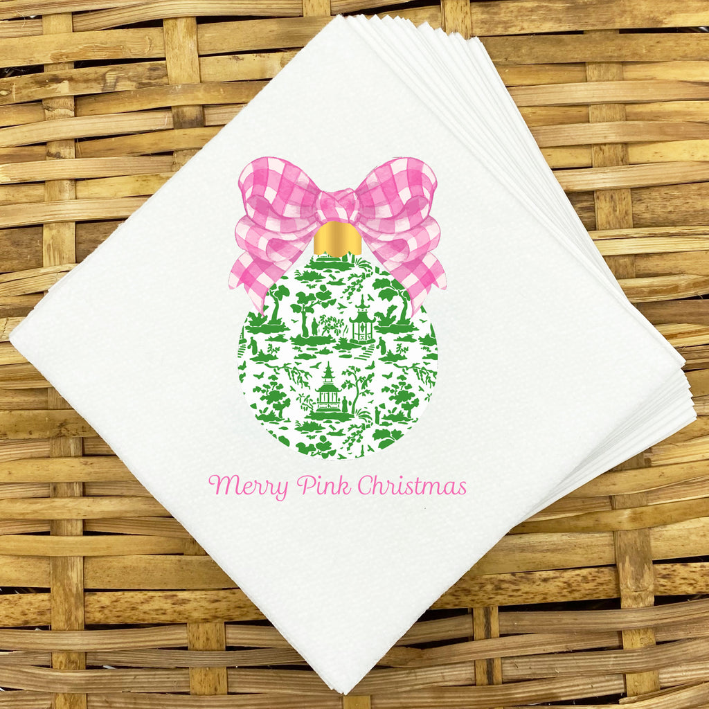 Pink and Green Ornament Napkins and Guest Towels