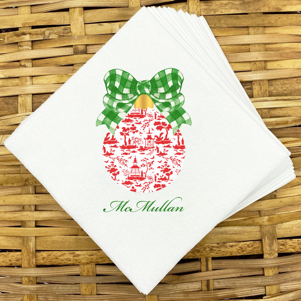 Red and Green Christmas Ornament Napkins and Guest Towels