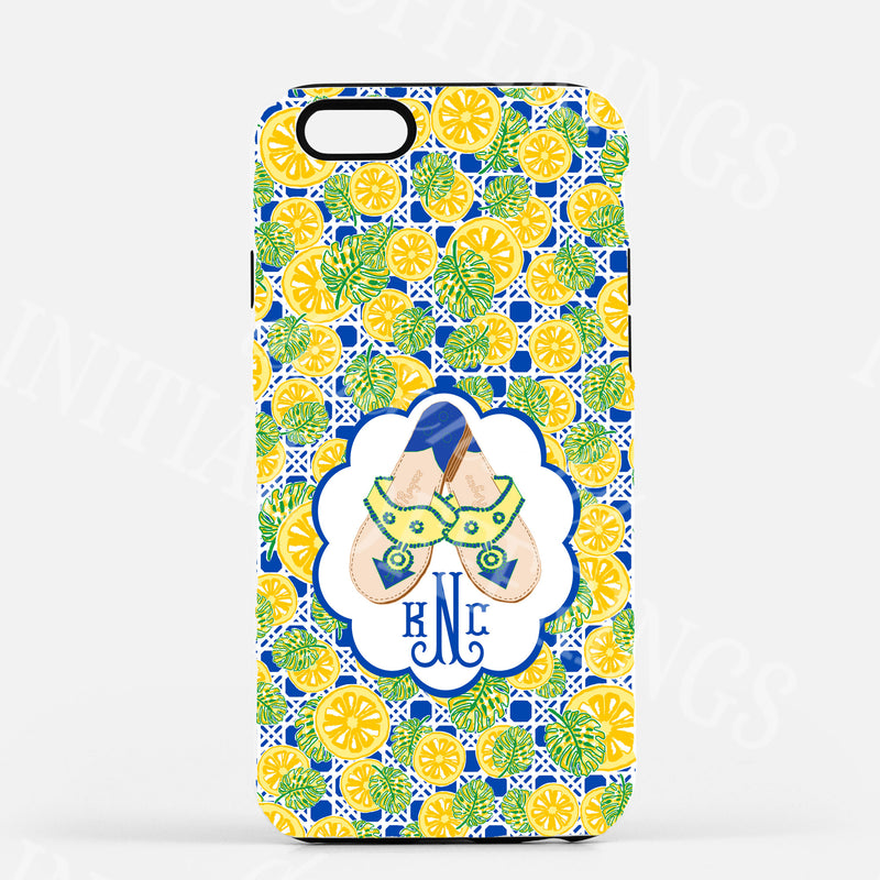 Yellow and Navy Jacks Glossy Tough Phone Case | iPhone | Samsung | Galaxy | LGG | Google Pixel