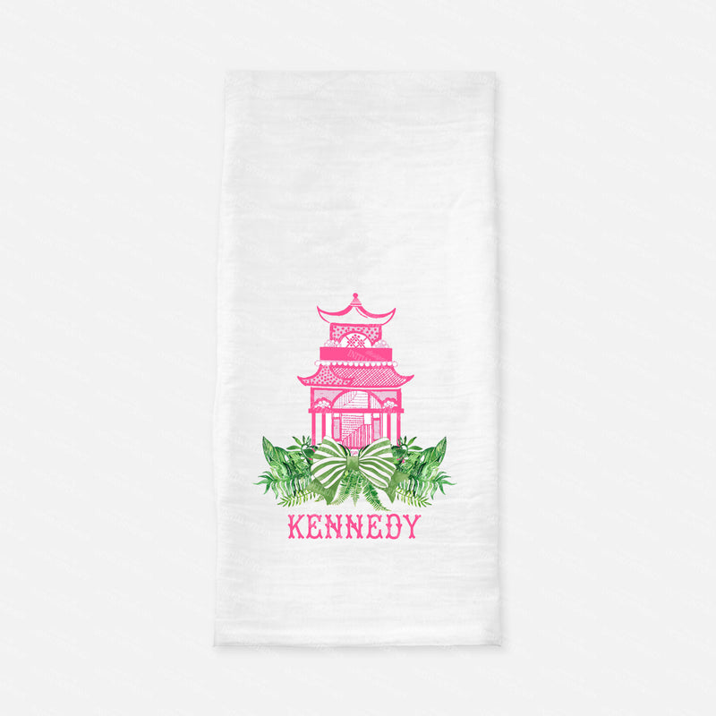 Pagoda Swag Pink with Green Bow Tea Towel