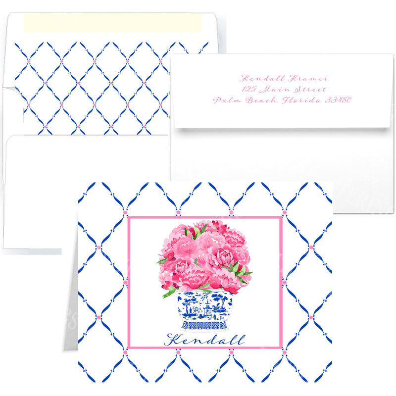 Pink Peonies in Blue Planter Notecards