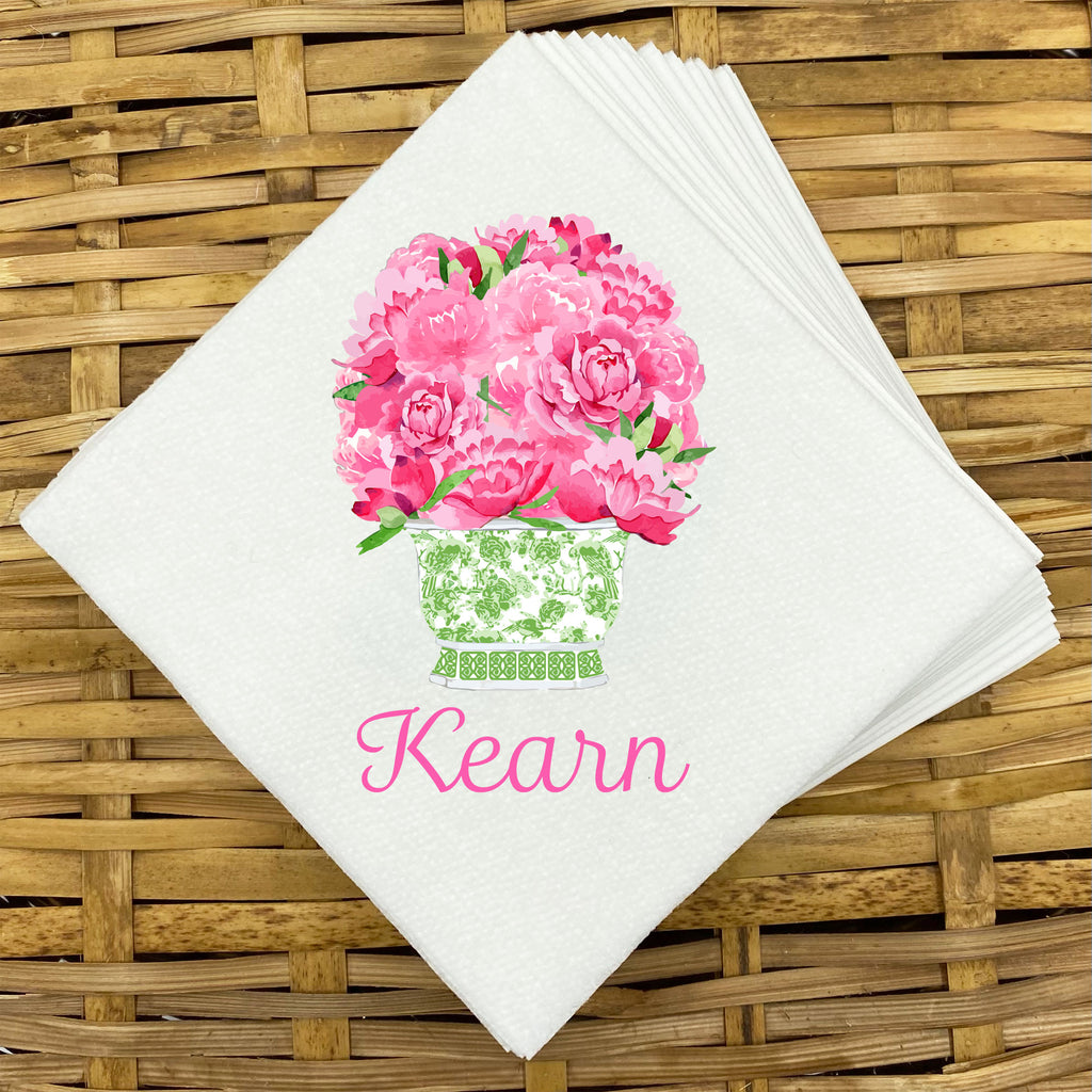 Pink Bouquet in Green Planter Napkins and Guest Towels