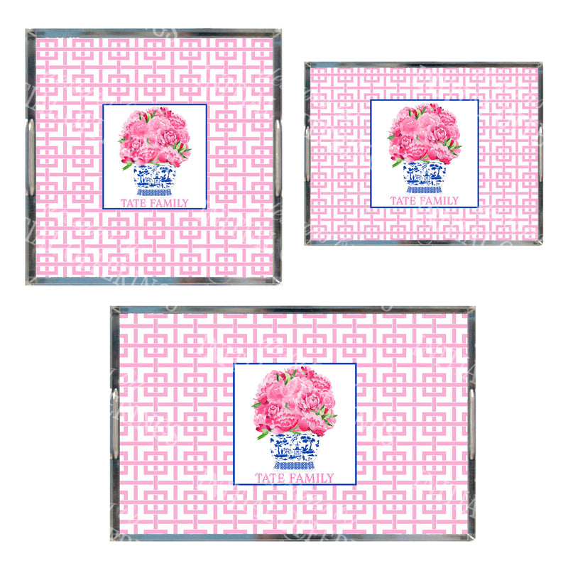 Pink Bouquet Acrylic Tray in 3 Sizes