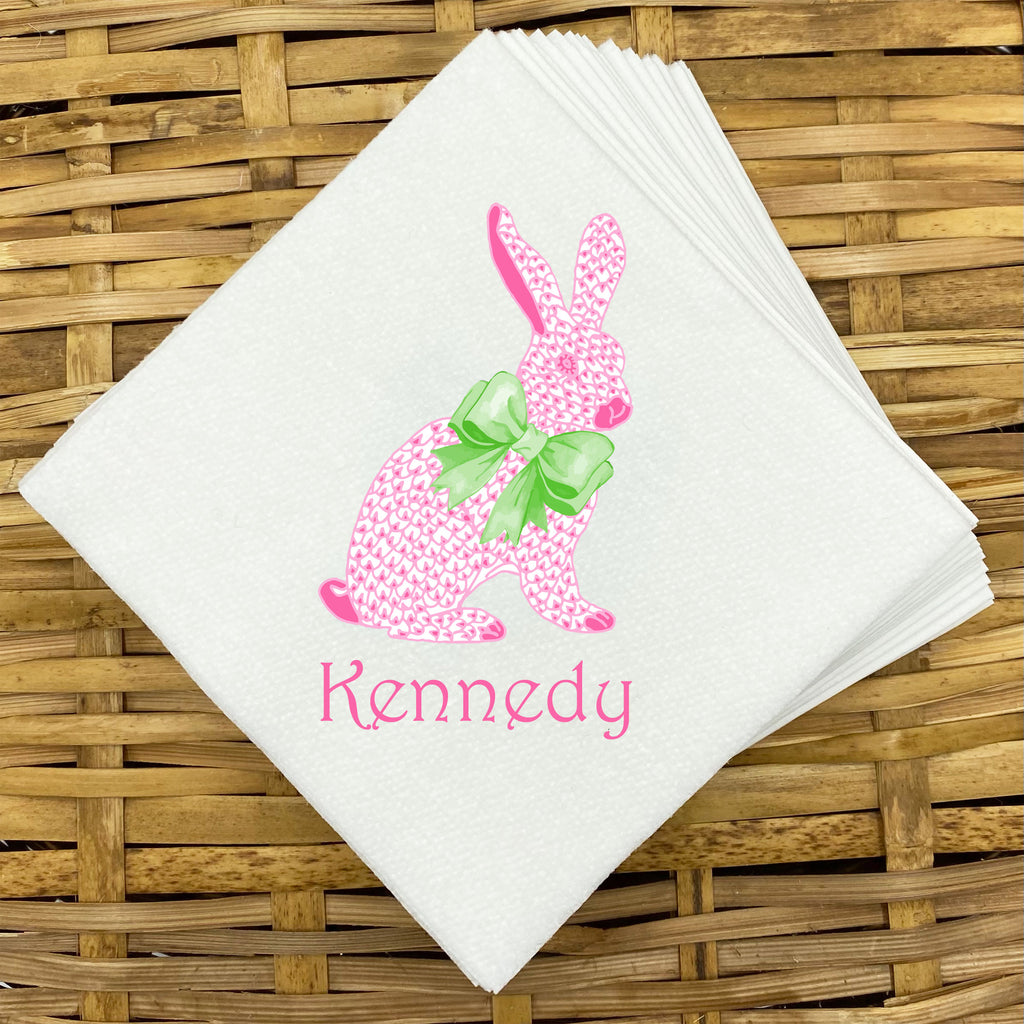 Pink Bunny Napkins and Guest Towels