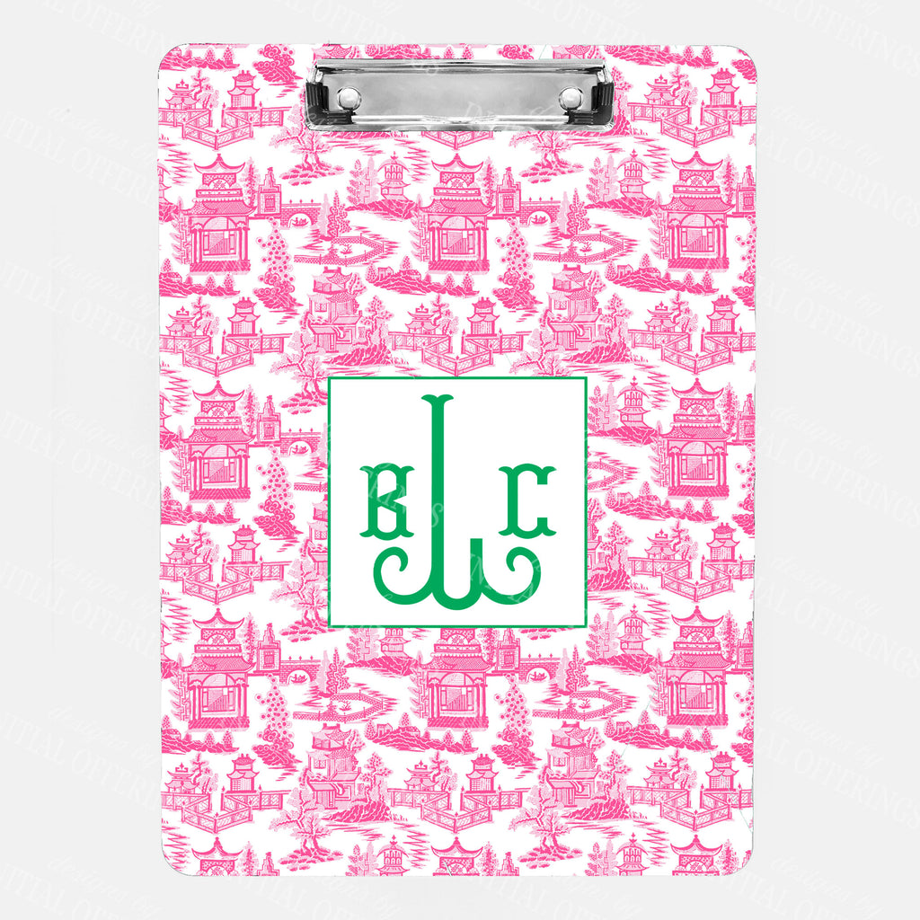 Pagoda Chinoiserie Pink with Green Clipboard