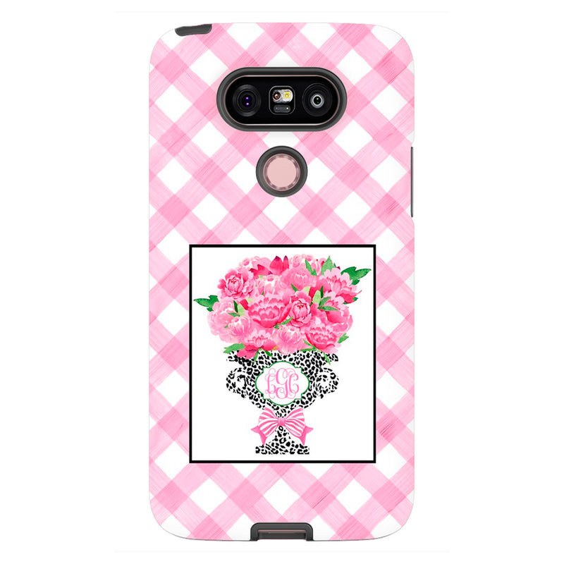Bouquet Pink Peonies Cheetah Print Planter Glossy Tough Phone Case | iPhone | Samsung | Galaxy | LGG | Google Pixel