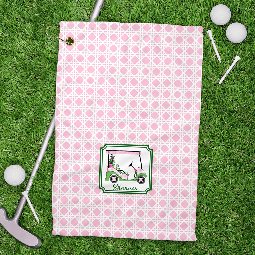 Golf Cart Pink and Green Sport Golf Towel
