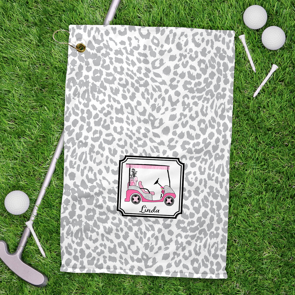 Golf Cart Hot Pink and Grey Sport Golf Towel