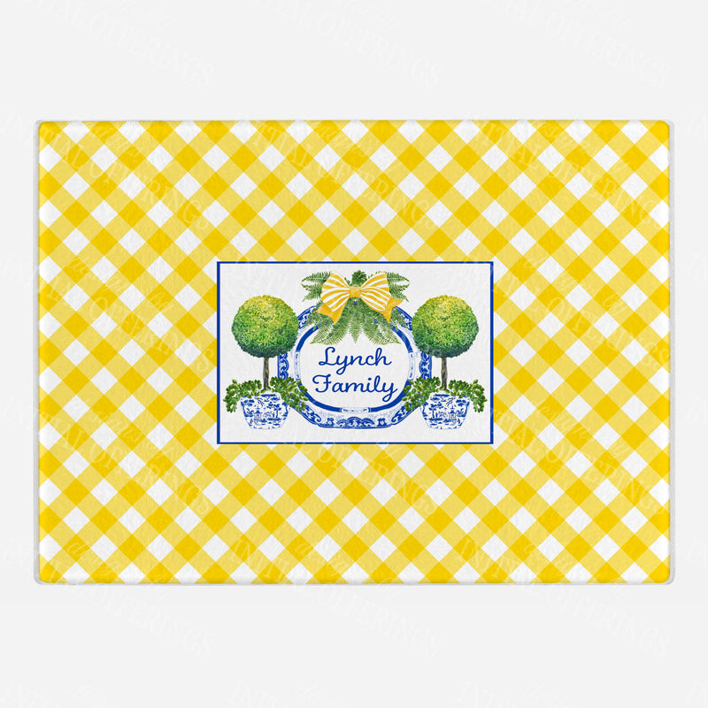 Topiaries and Platter Yellow Cutting Board - 2 Sizes