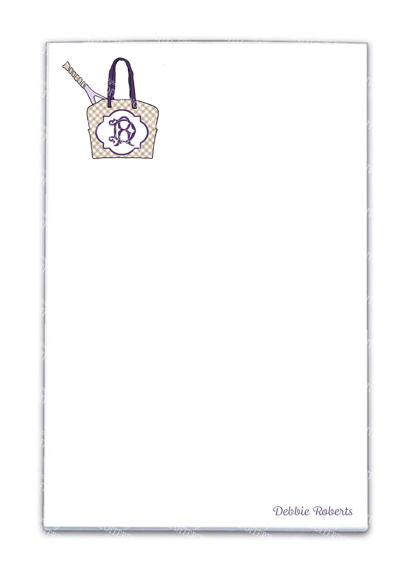 Tennis Bag Lavender and Khaki Notepad