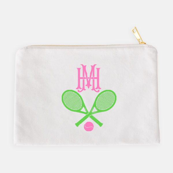 Tennis Racquets Green and Pink Accessory Case