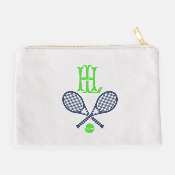 Tennis Racquets Navy and Green Accessory Case