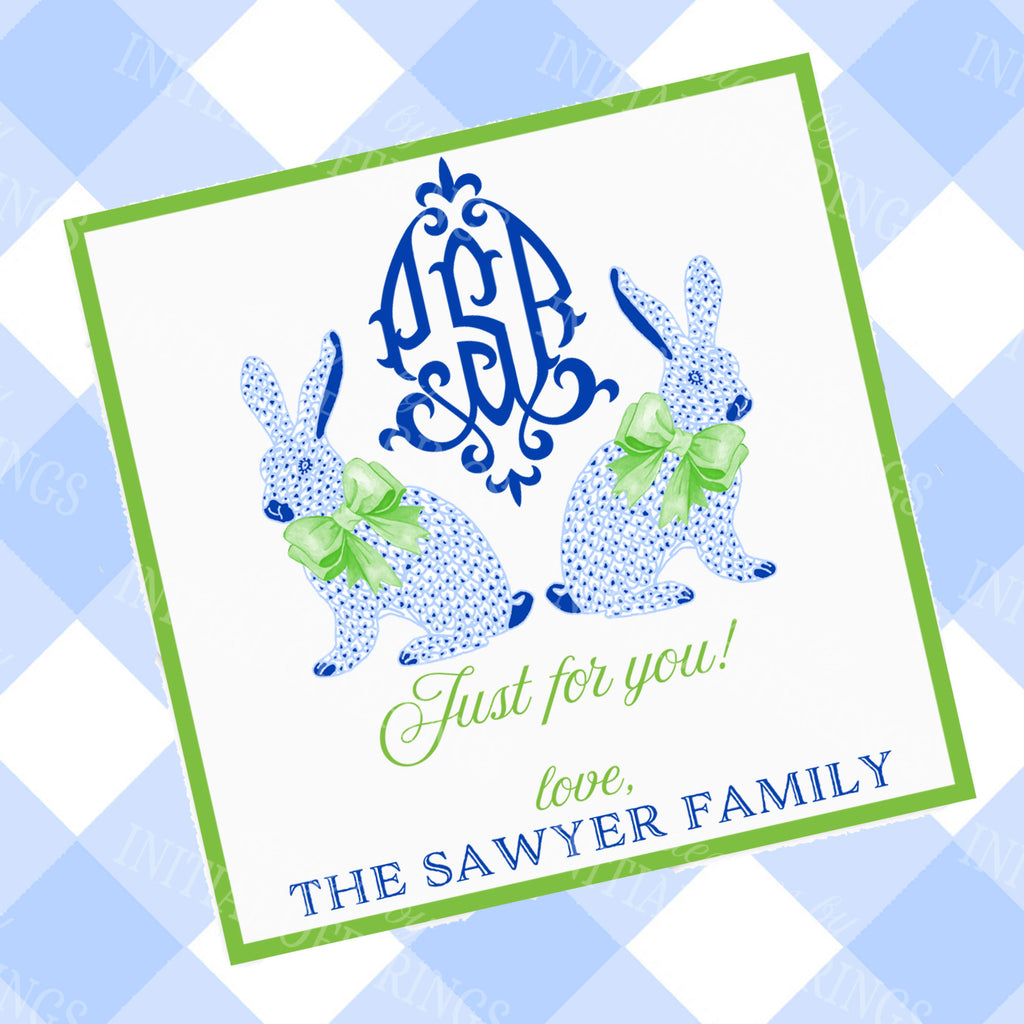 Blue Bunnies Gift Enclosure Card with Monogram