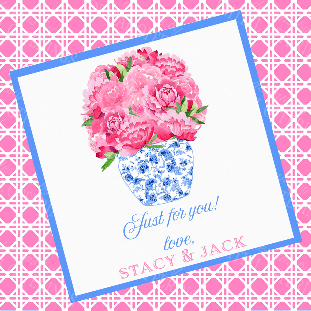 Bouquet Pink Peonies Gift Enclosure Card