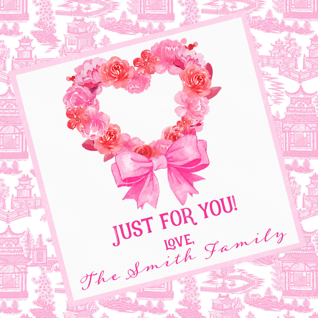 Pink Floral Heart Gift Enclosure Card