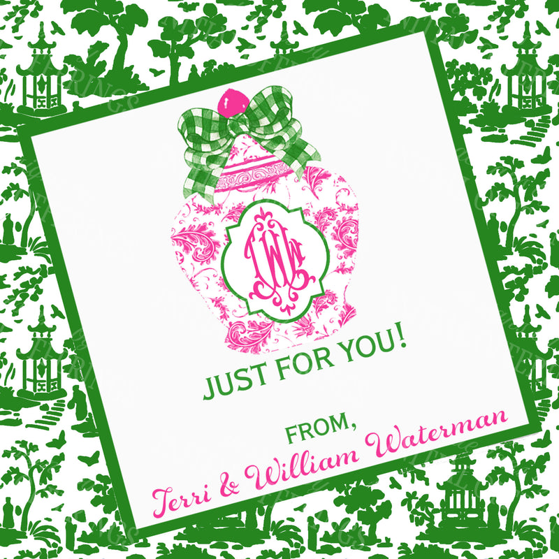 Ginger Jar Pink with Green Gingham Bow Gift Enclosure Card