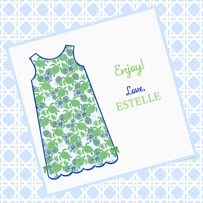 Kiwi Turtle Print Shift Dress Gift Enclosure Card