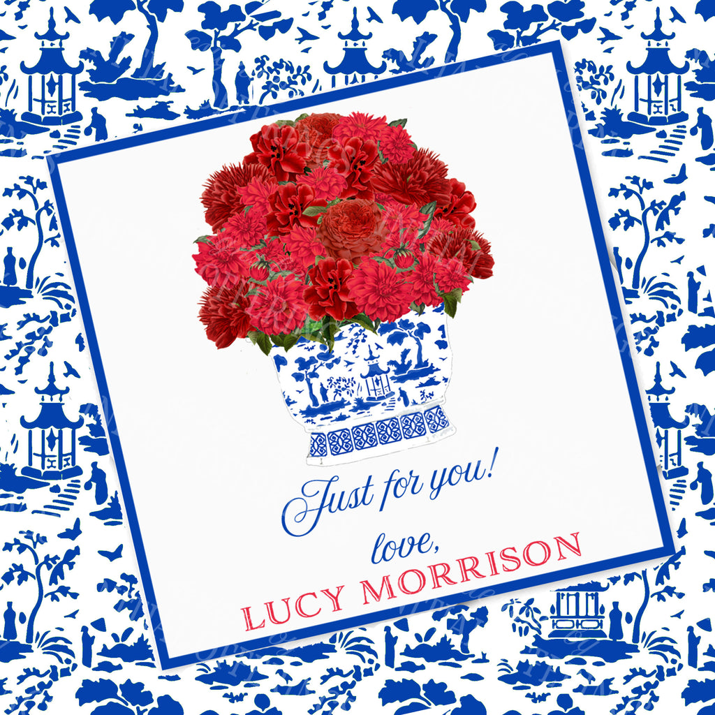 Red Bouquet Gift Enclosure Card