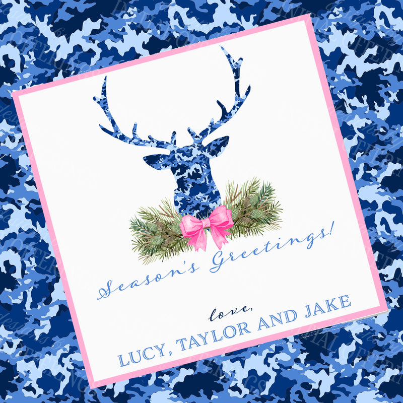 Blue Camo Stag Head Swag Gift Enclosure Card