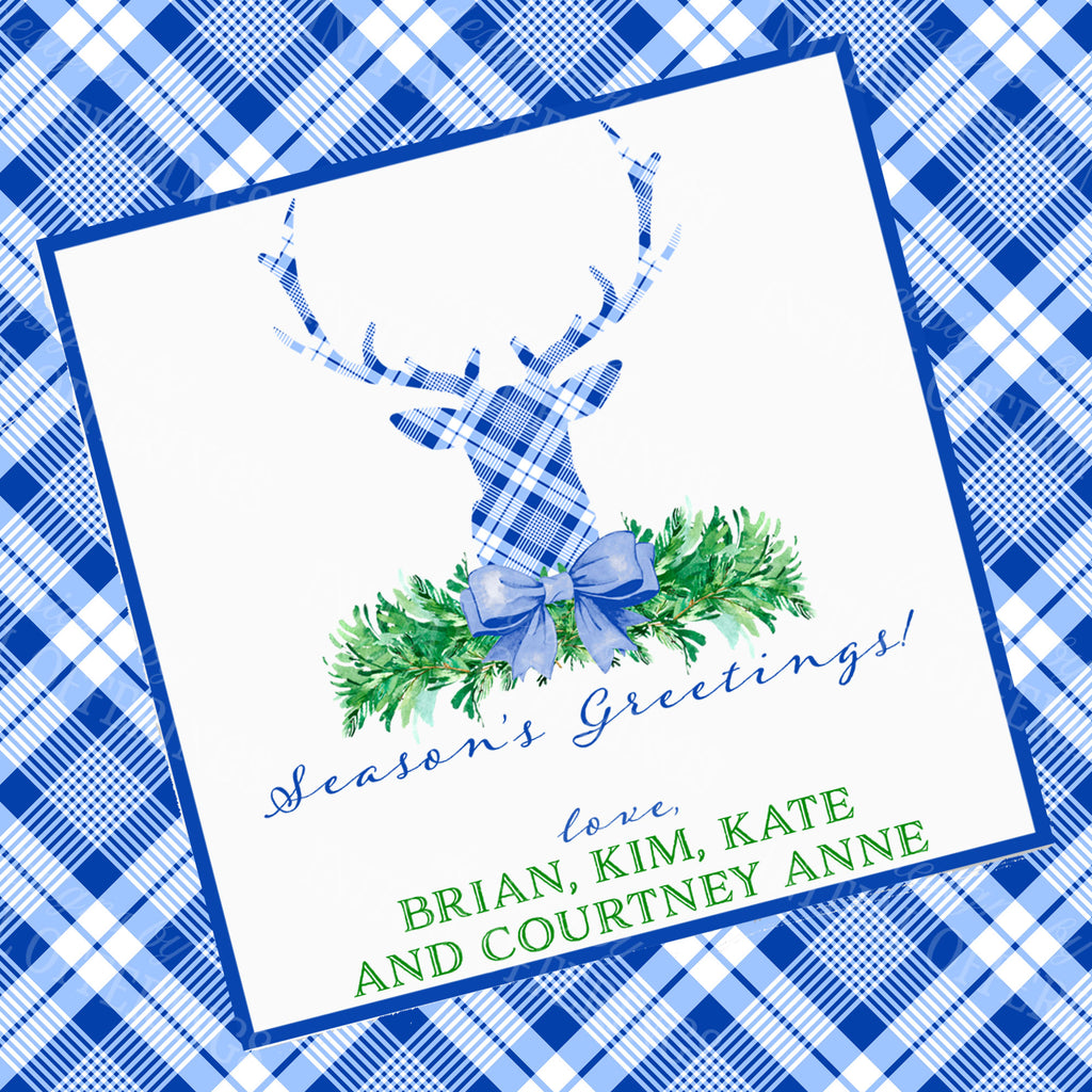 Blue and White Plaid Stag Head Swag Gift Enclosure Card