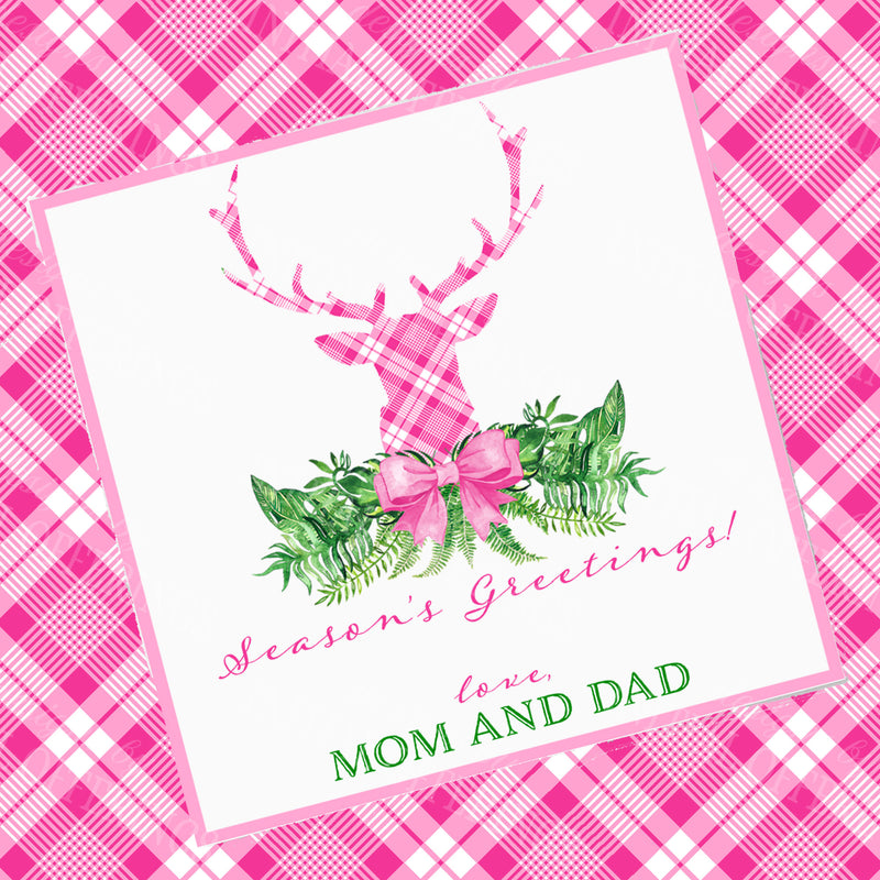 Pink and White Plaid Stag Head Swag Gift Enclosure Card