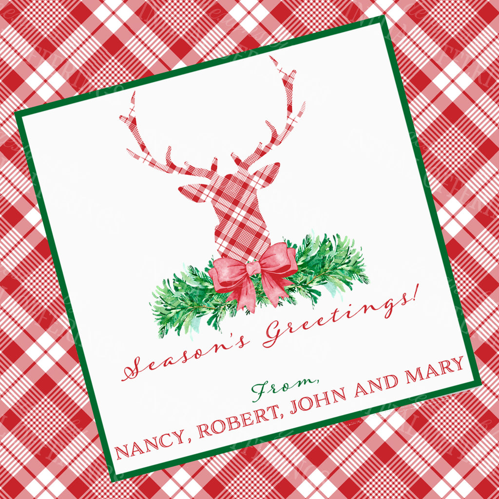 Red and White Plaid Stag Head Swag Gift Enclosure Card