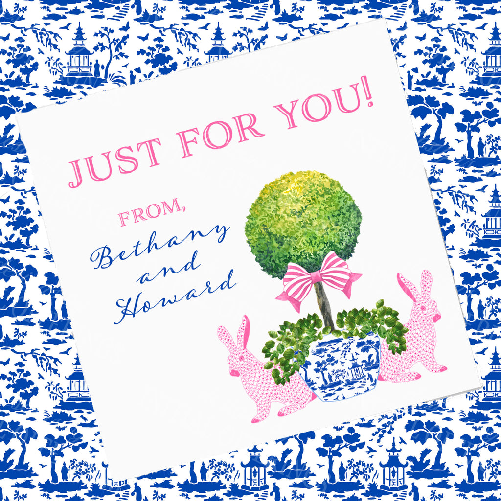 Bunnies with Topiary Gift Enclosure Card