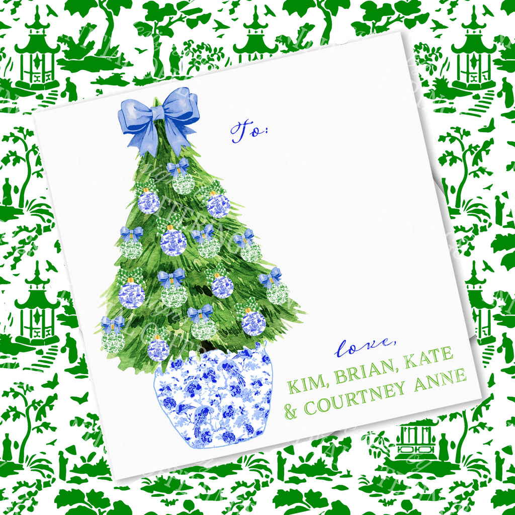 Blue and Green Christmas Tree Gift Enclosure Card
