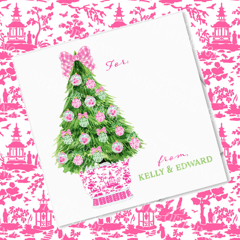 Pink and Green Christmas Tree Gift Enclosure Card