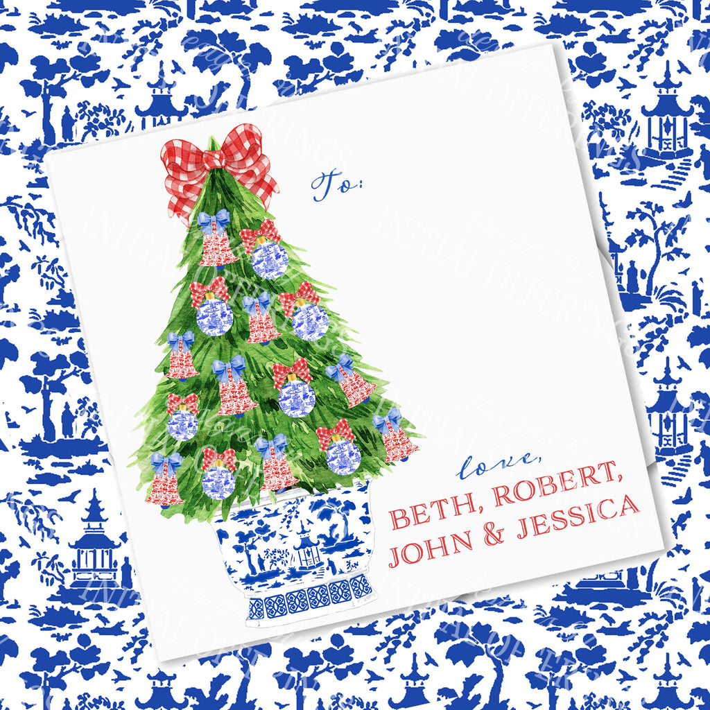 Red and Blue Christmas Tree Gift Enclosure Card
