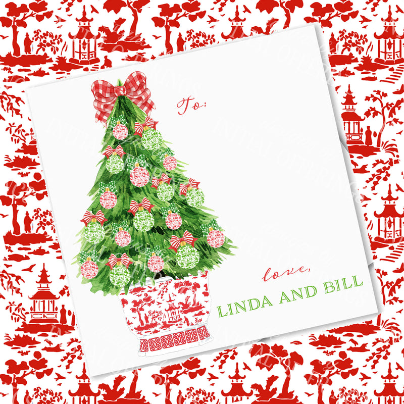 Red and Green Christmas Tree Gift Enclosure Card