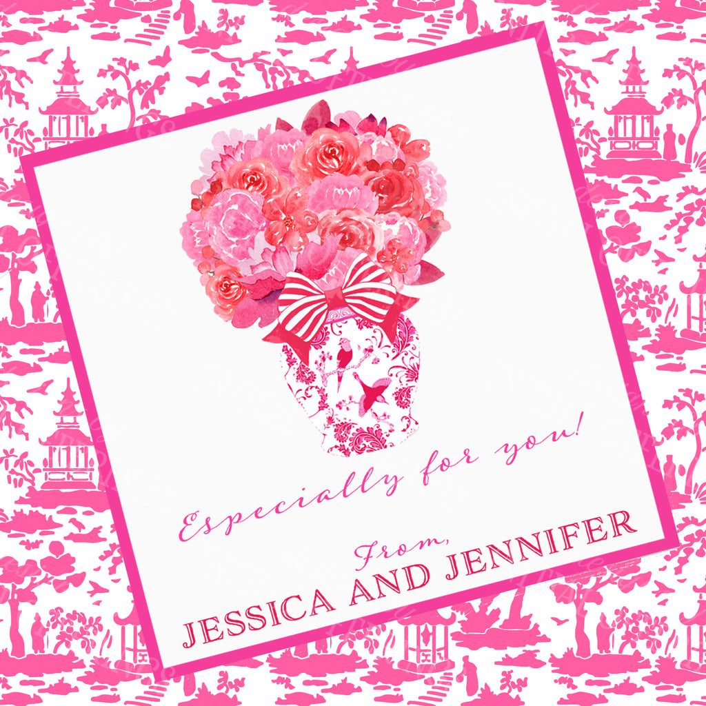 Pink and Red Bouquet Gift Enclosure Card