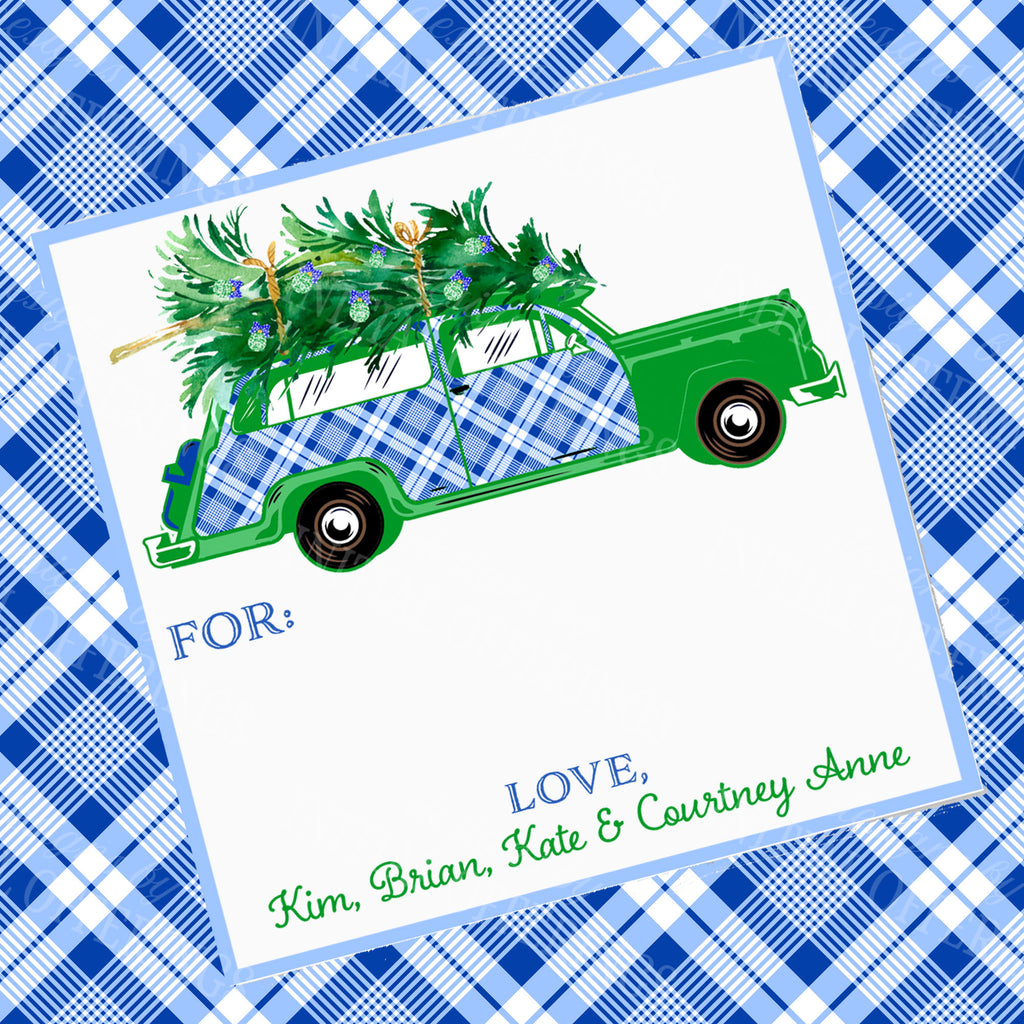 Blue and White Plaid Woody Wagon Gift Enclosure Card