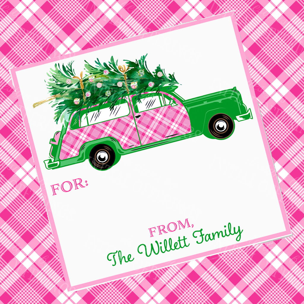 Pink and White Plaid Woody Wagon Gift Enclosure Card