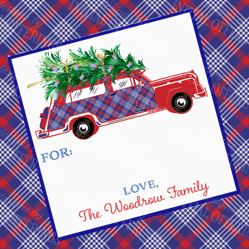 Red and Blue Plaid Woody Wagon Gift Enclosure Card