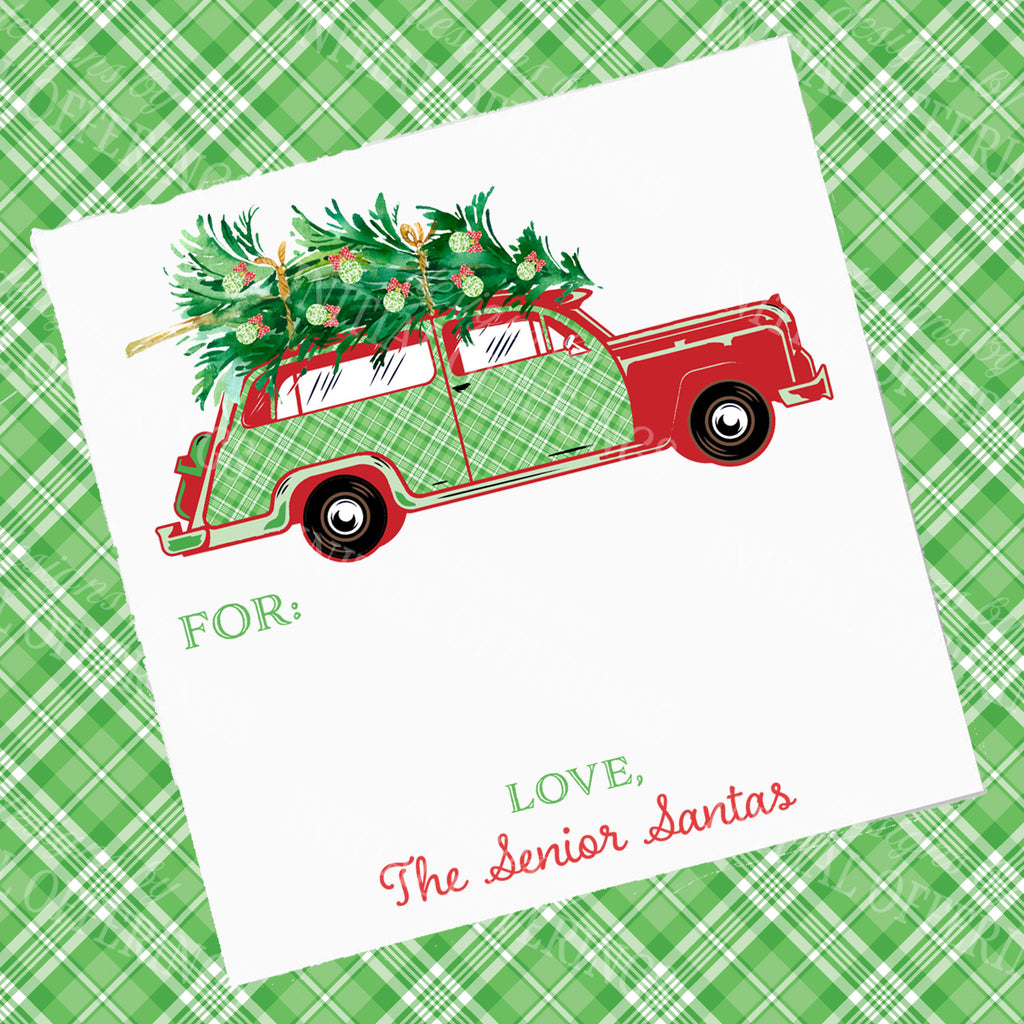 Red and Green Plaid Woody Wagon Gift Enclosure Card